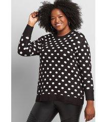 lane bryant women's dot jacquard print pullover sweater 10/12 black