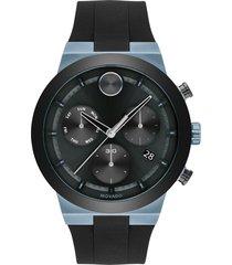 women's movado bold fusion chronograph silicone strap watch, 44.5mm