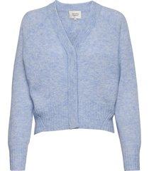 brook knit boxy cardigan stickad tröja cardigan blå second female
