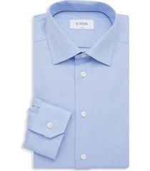 eton men's broken stripe dress shirt - blue - size 17.5