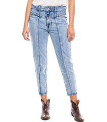 mom fit cropped jeans con cortes delanteros color blue
