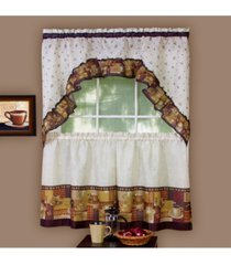 coffee printed tier and swag window curtain set, 57x24