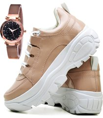 tênis sapatênis plataforma asgard com relógio gold feminino db 730lbm rosê