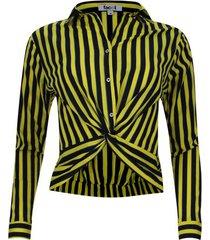 camisa a rayas cruzada color negro, talla 14