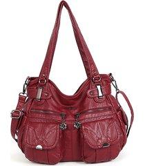 borsa a tracolla multi-tasche casual in pelle soft da donna borsa spalla borsa cartella