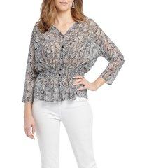 women's nic+zoe forage print shirt jacket, size x-large - black