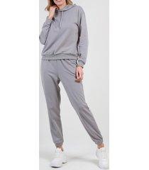 conjunto con capucha liso gris night concept