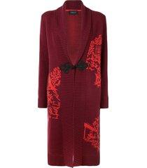 shanghai tang chinoiseries intarsia knitted long cardigan - red