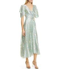 women's talbot runhof metallic animal spot voile midi dress, size 2 - green