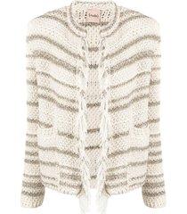 nude striped fringe-trimmed jacket - white