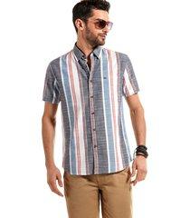 camisa manga corta rayas michigan gris/rojo ferouch