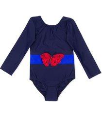 mini rodini butterfly-appliquée swimsuit - blue