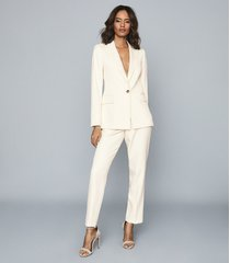 reiss edie - tailored slim-leg trousers in ivory, womens, size 14