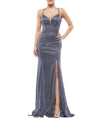 women's colors dress glitter mermaid gown, size 2 - blue