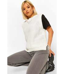 petite oversized knitted tank sweater, ivory