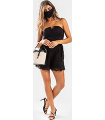 liea strapless lace romper - black