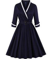 belted surplice back zipper plus size vintage dress