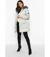 maternity faux fur trim parka coat, grey