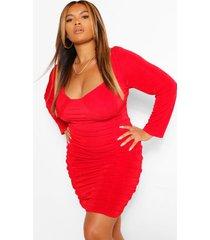plus getextuurde strakke geplooide bodycon jurk, rood