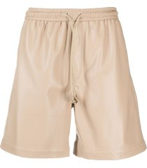 nanushka faux-leather bermuda shorts - neutrals
