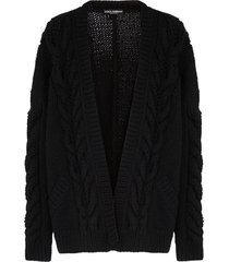 dolce & gabbana chunky-knit long-sleeve cardigan - black