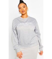 plus essential embroidered sweatshirt, grey