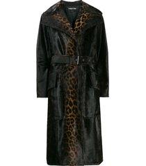 tom ford leopard print belted coat - brown