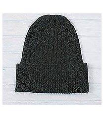 100% alpaca hat, 'moss braid cascade' (peru)