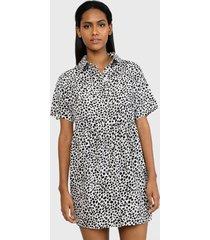 blusón missguided shirt smock dress dalmatian dresses  blanco - calce regular