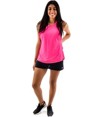 regata rich young fitness rosa + shorts saia fitness preto