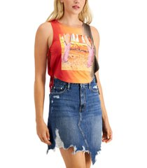 guess side-tie graphic sleeveless t-shirt