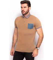 camiseta polo algodão teodoro bolso slim casual masculina - masculino