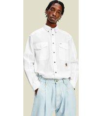 tommy hilfiger men's organic cotton icon varsity shirt white - l