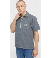 carhartt wip s/s dash shirt skjortor blue/white
