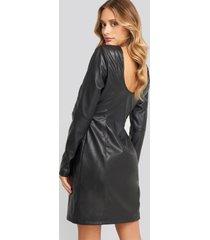 na-kd party soft mini ls pu dress - black