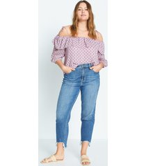 bedrukte off-shoulder blouse
