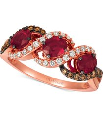 le vian passion ruby (1-1/4 ct. t.w.), vanilla diamonds (1/5 ct. t.w.) & chocolate diamonds (1/5 ct. t.w.) statement ring in 14k rose gold