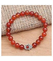 carnelian beaded stretch bracelet, 'hamsa hand in scarlet' (indonesia)