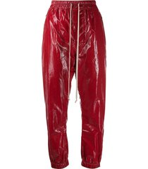 rick owens coated drawstring trousers - red