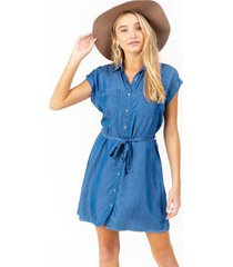 leona tie waist shift dress - chambray