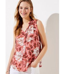 loft petite floral ruffle tie neck mixed media shell