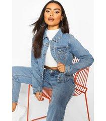 boxy jean jacket, mid blue