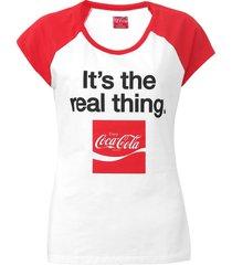 camiseta coca-cola jeans aroma branco/vermelho - kanui