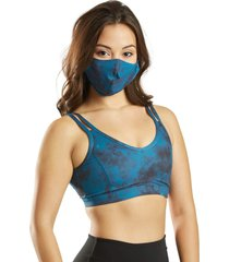 everyday yoga women's tie dye face mask indigo spandex
