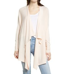 women's nordstrom drape front cardigan, size medium/large - pink