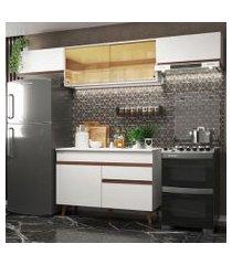 cozinha compacta madesa reims 260003 com armário e balcão branco branco