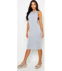 sleeveless midi dress, grey marl