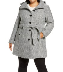 plus size women's gallery belted tweed coat with hood, size 1x - black
