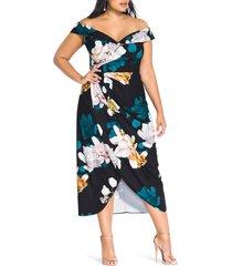 plus size women's city chic glow off the shoulder midi dress