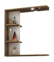 conjunto p/ banheiro c/ espelheira tecla e led gabinete c/ cuba lara 60cm mb bosi marrom
